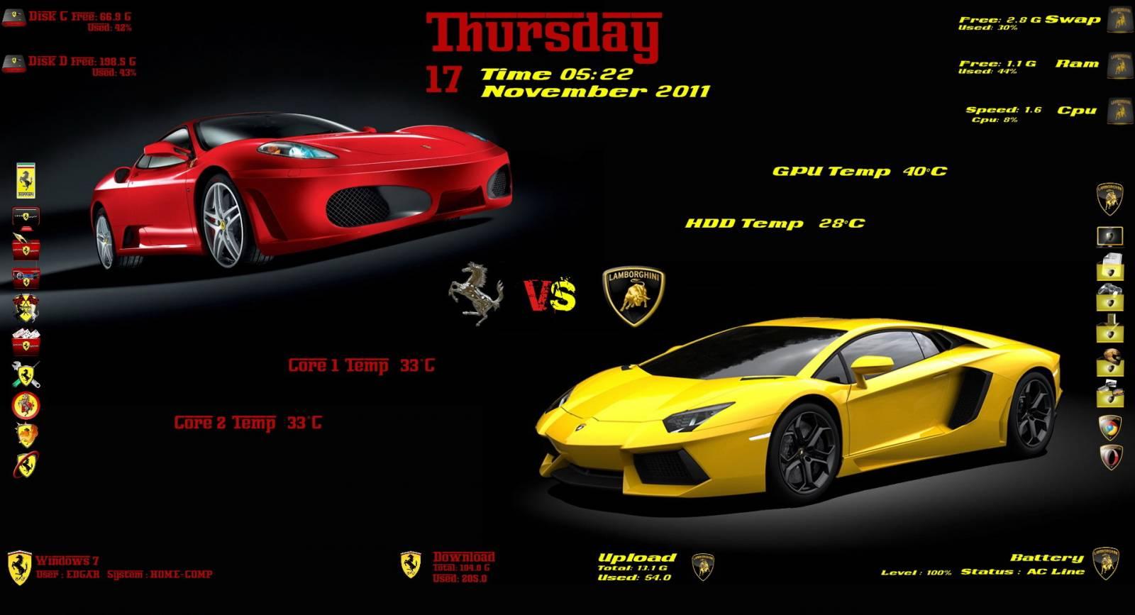 "Скин ""Ferrari vs Lamborghini"" для Rainmeter: 7themes.su/news/ferrari_vs_lamborghini/2011-11-17-143"