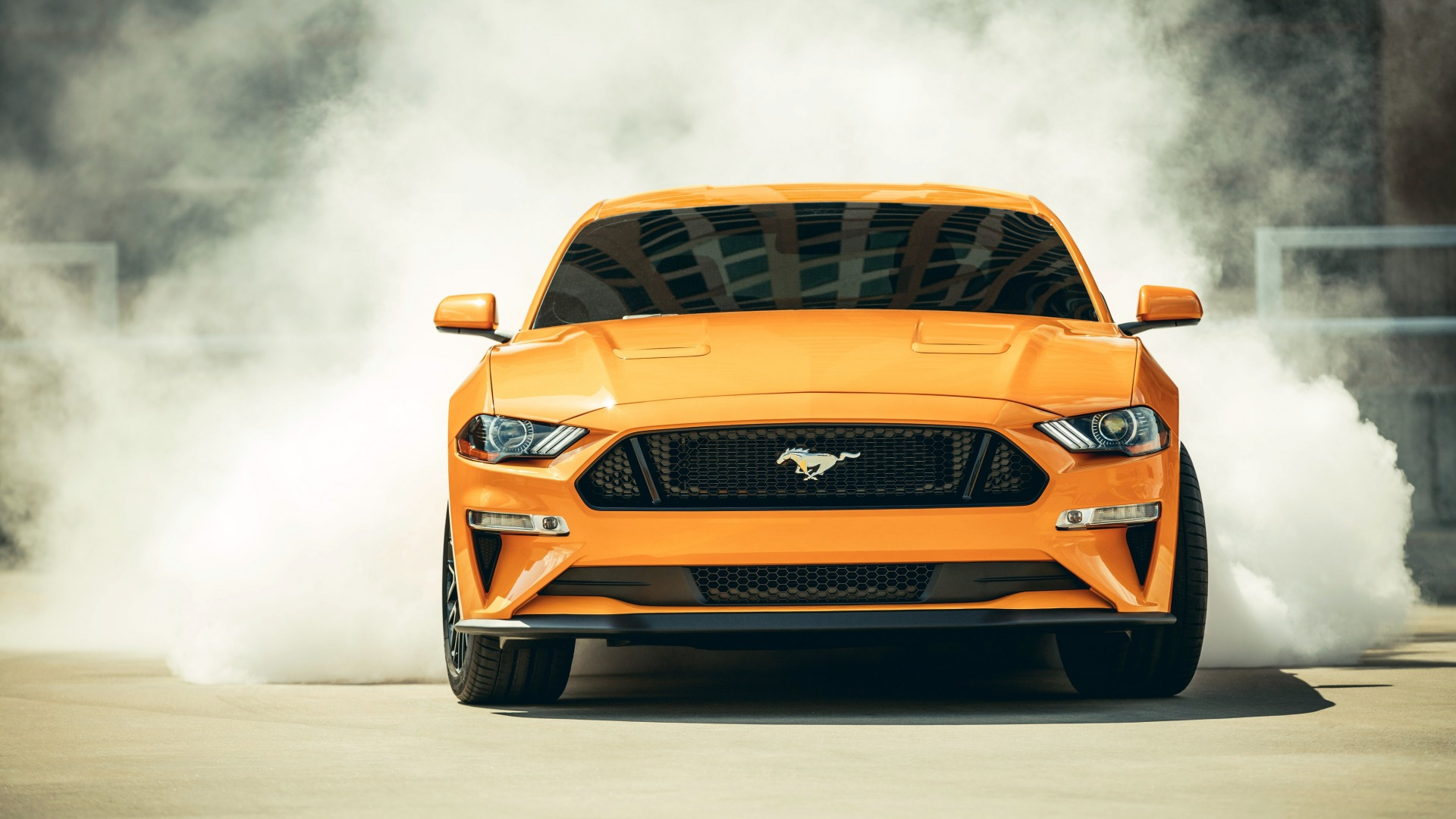 Ford, Fastback Sports, Mustang GT, 2018, дым
