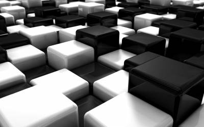 Abstract Black White Blocks