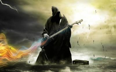 Смерть играет на электрогитаре.