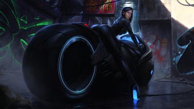 Girl super motorbike