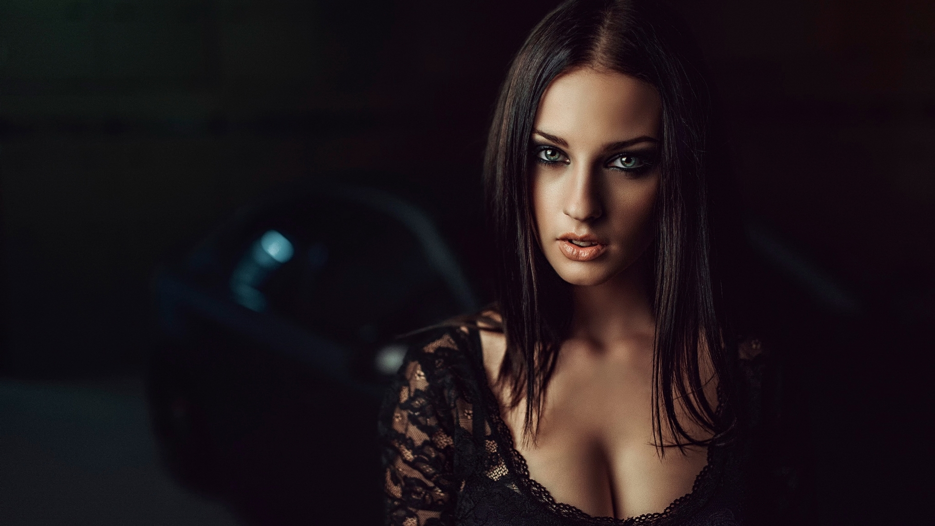 Girl in black & Car