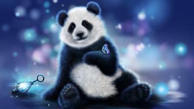 Cute Panda And Butterfly