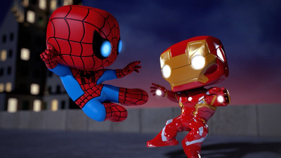 animated movie, mecha, Iron Man, Spiderman
