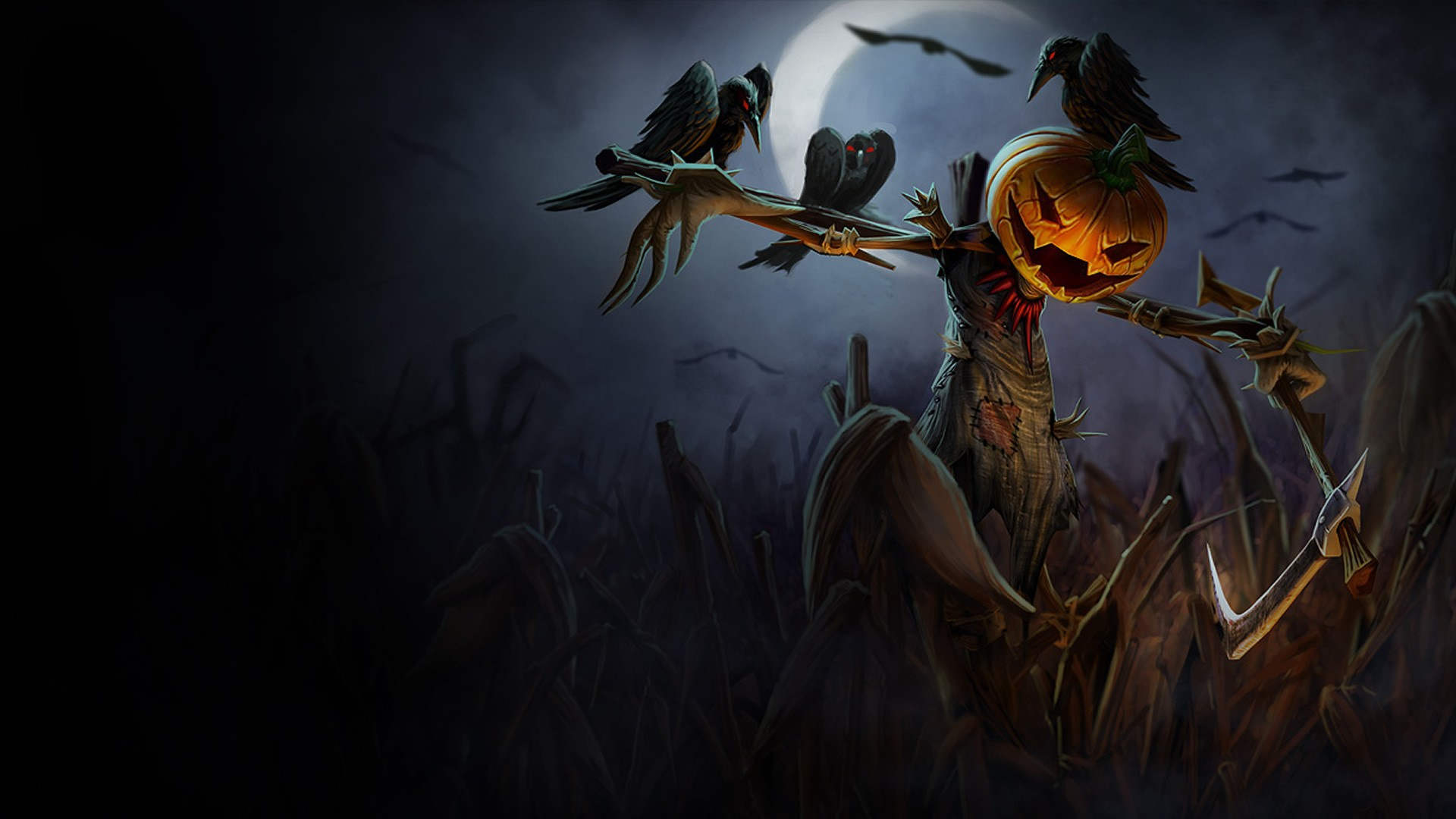 pumpkin, scarecrow, dark, spooky, night, moon