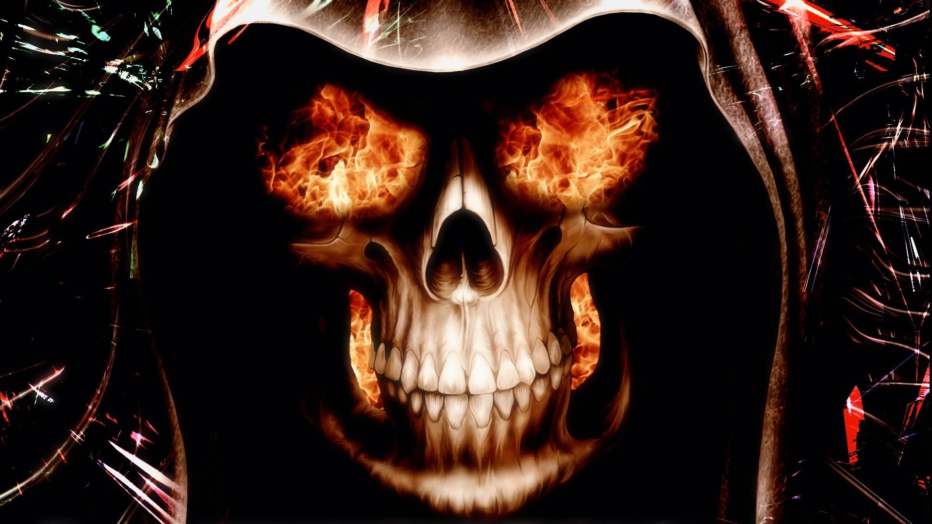 фото череп в огне