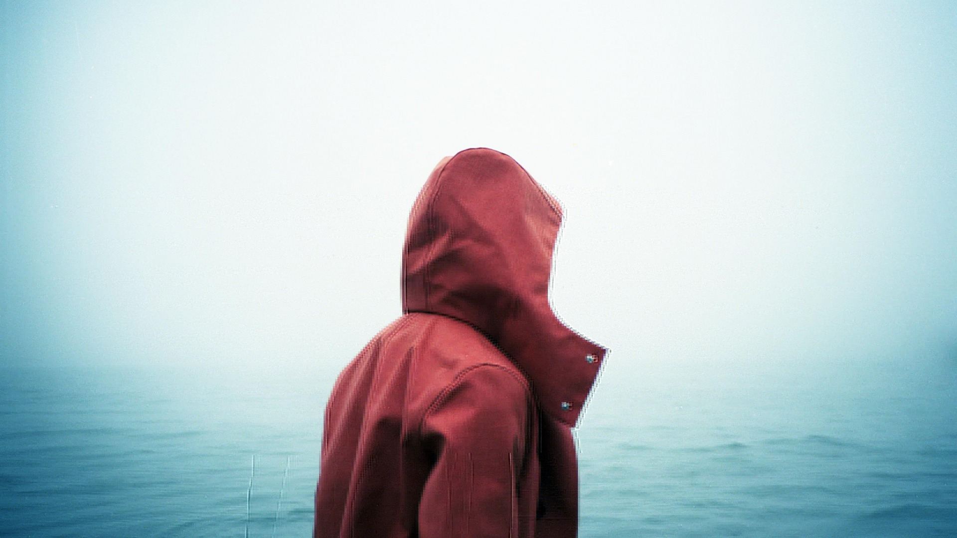 hood, person, fog, sea