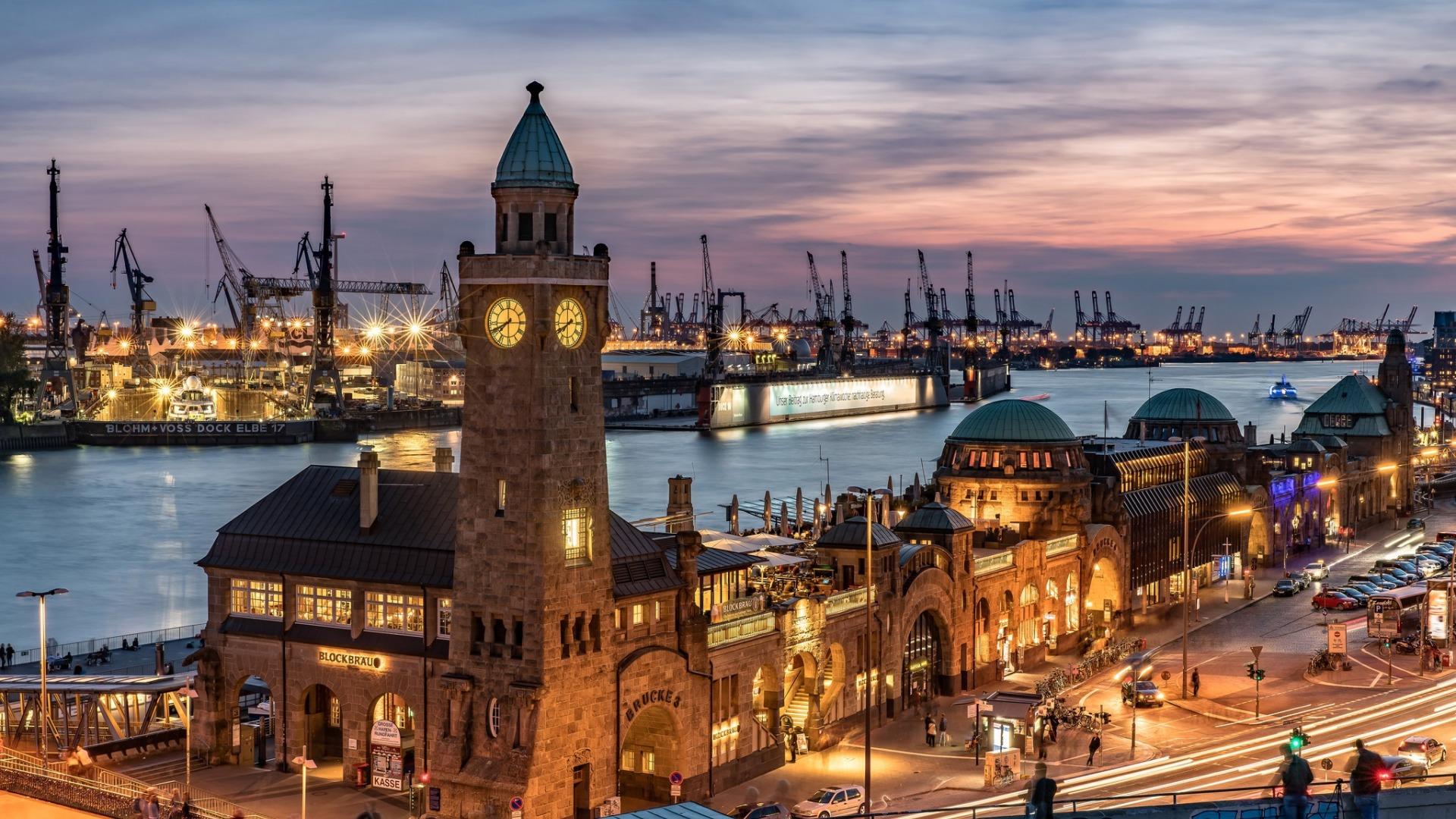 Обои дома, гамбург, германия, ночь, башня, кран. Города foto 7