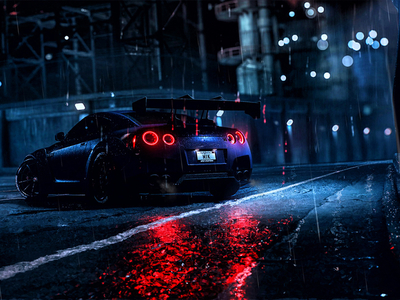 Nissan GT-R Night rain